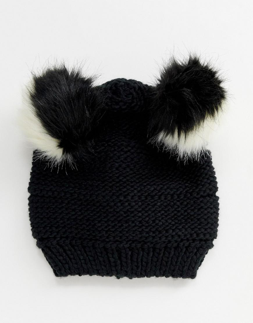 193a8705ea1 Lyst - Pull Bear Double Faux Fur Pom Pom Hat in Black