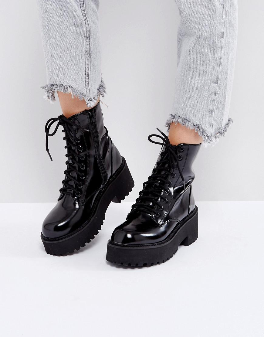 a45a8a45e Sixtyseven Chunky Sole Lace Up Boots in Black - Lyst