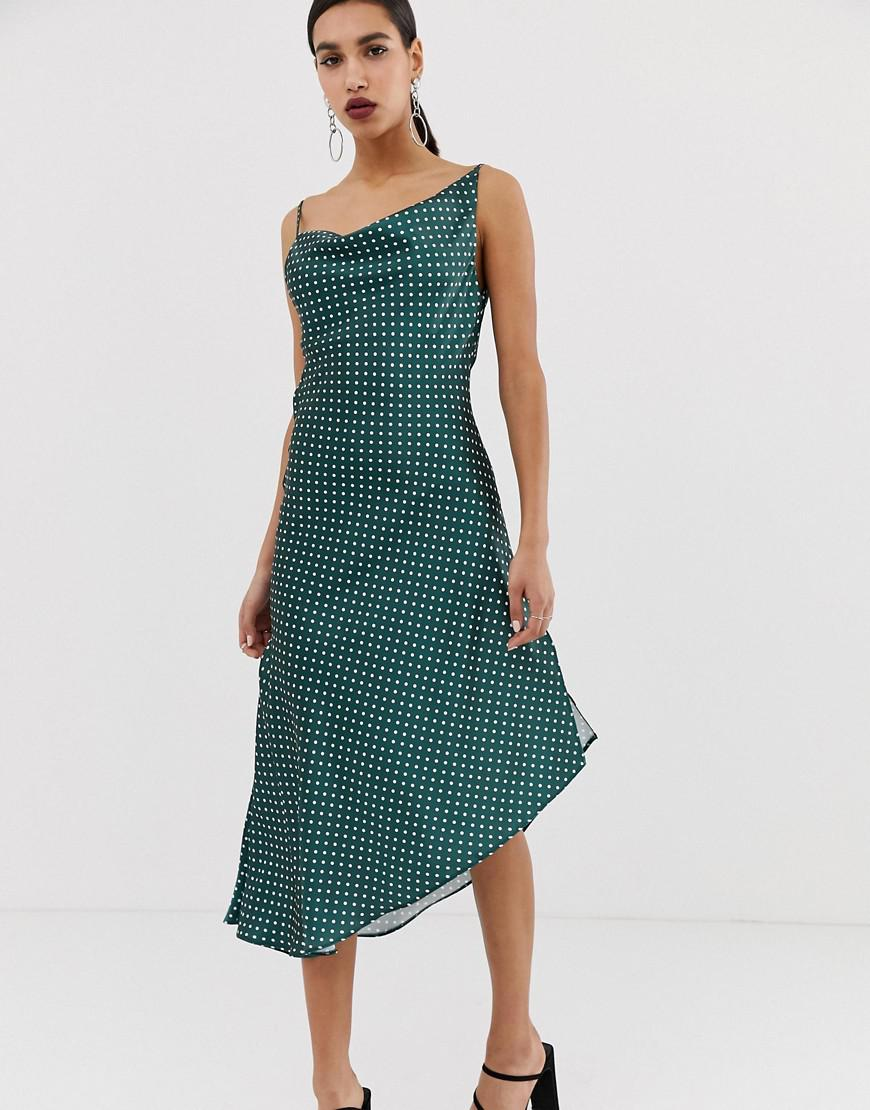 3ceab3df4b66 ASOS - Green Midi Slip Dress In High Shine Satin In Spot Print - Lyst. View  fullscreen