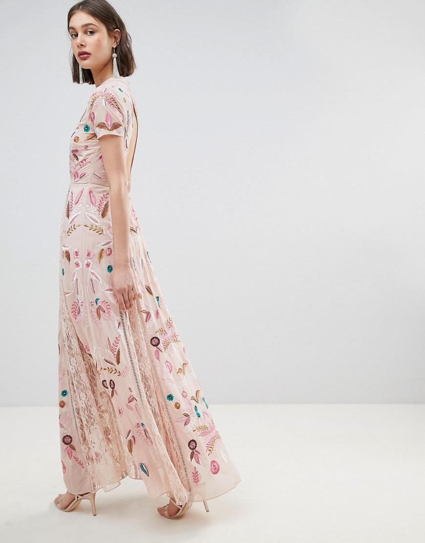 Lyst - Frock and Frill Allover Embroidered Plunge Front Maxi Dress 18d83bd98