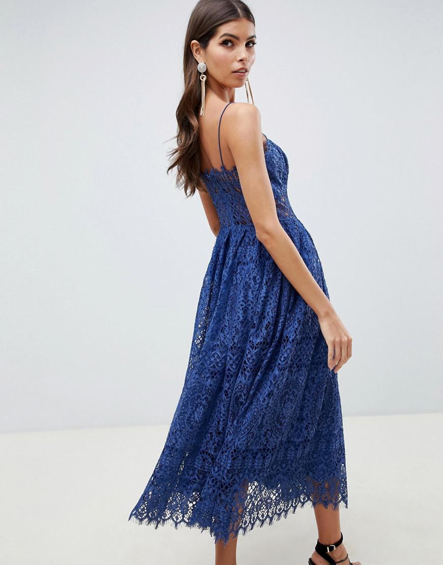 bfedd88ddc ASOS Asos Design Petite Lace Cami Midi Prom Dress in Blue - Lyst