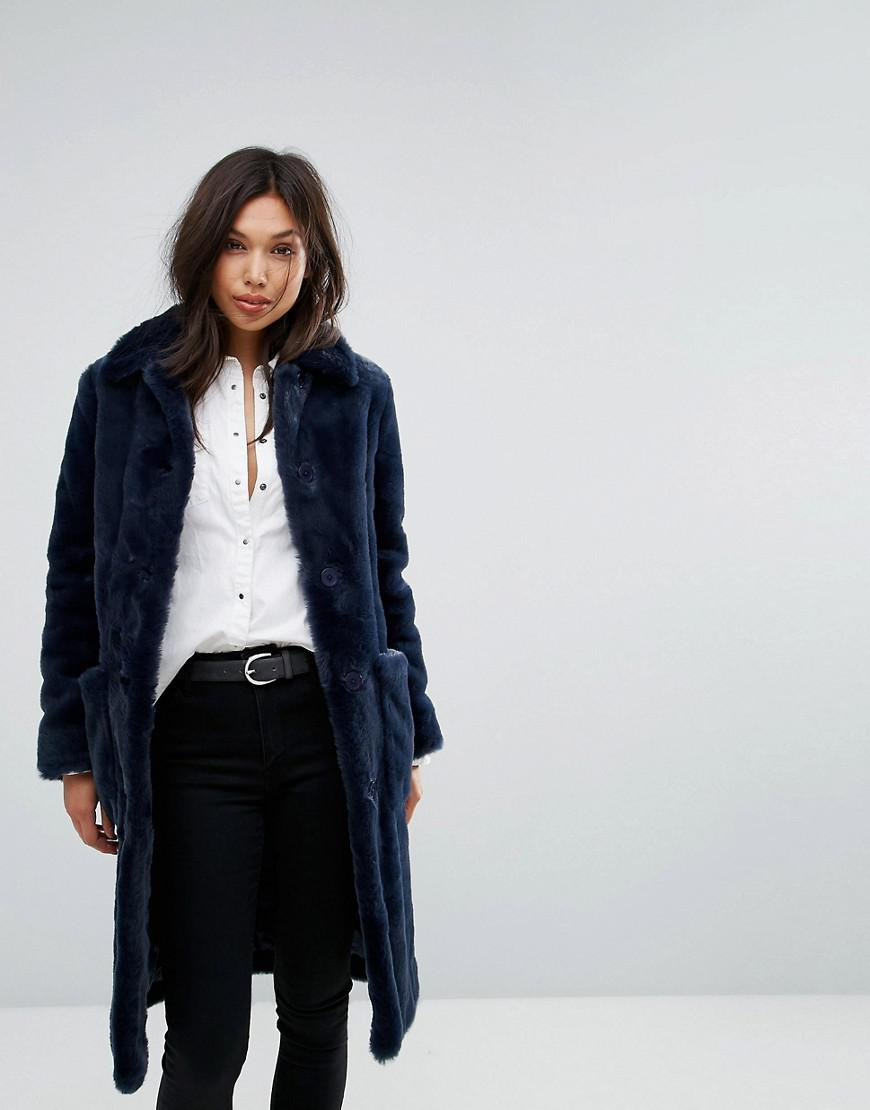 Lyst - Parka London Isabel Super Soft Faux Fur Coat in Blue