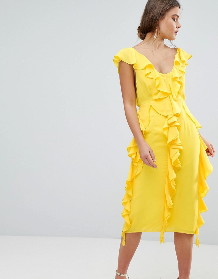 85e89170f19 ASOS Sleeveless Midi Dress With Soft Ruffles in Yellow - Lyst