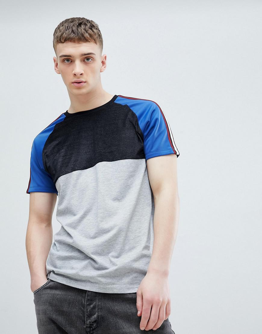 1533cf95 Lyst - ASOS Relaxed Longline T-shirt In Half And Half Velour And Polytricot  Sleeves With Taping in White for Men
