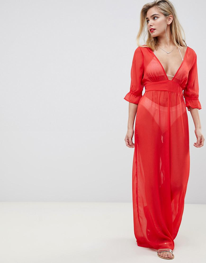 471cdf6b07c Lyst - ASOS Chiffon Plunge Beach Jumpsuit In Red in Red