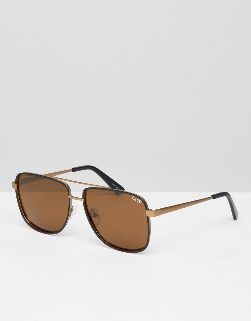 616c29cfb3 Lyst - Quay Modern Times Aviator Sunglasses In Bronze in Metallic ...