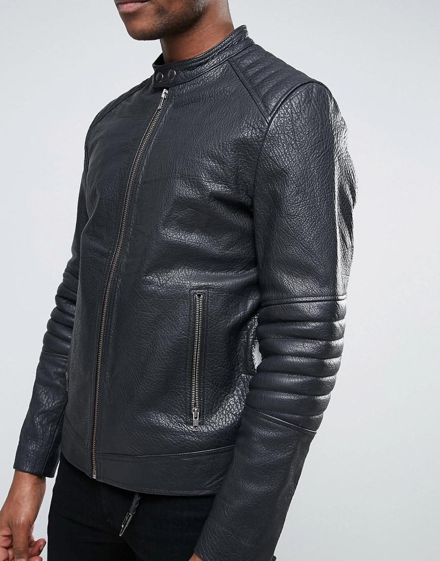 Lyst - Asos Leather Quilted Racing Biker Jacket In Black in Black ... : quilted racing jacket - Adamdwight.com