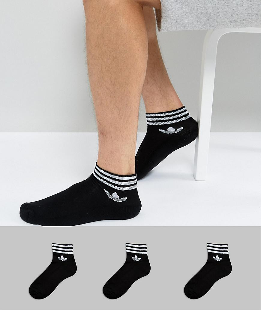 3 Pack Black Ankle Socks With Trefoil Logo - Black adidas Originals Genuine w89cMK