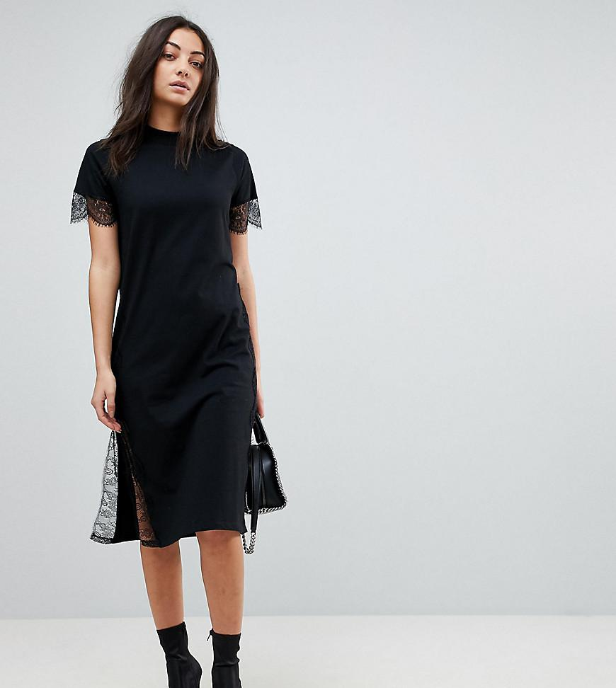 Lyst asos midi t shirt dress with lace insert in black for Midi shirt dress black
