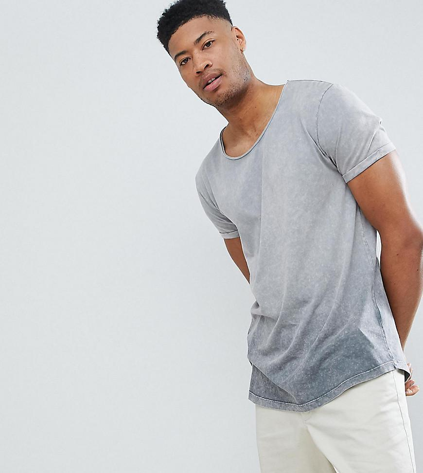Relaxed Longline T-Shirt With Scoop Neck And Distressed Snake Skull Print With Acid Wash - Bal Asos