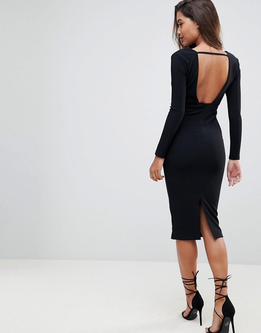 2114568b04bc ASOS Asos Long Sleeve Exposed Underwire Bodycon Midi Dress in Black ...