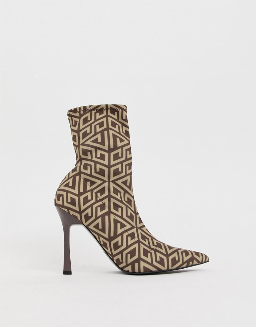 f0551abff4b Lyst - Asos Esme Pointed Heeled Boots in Brown