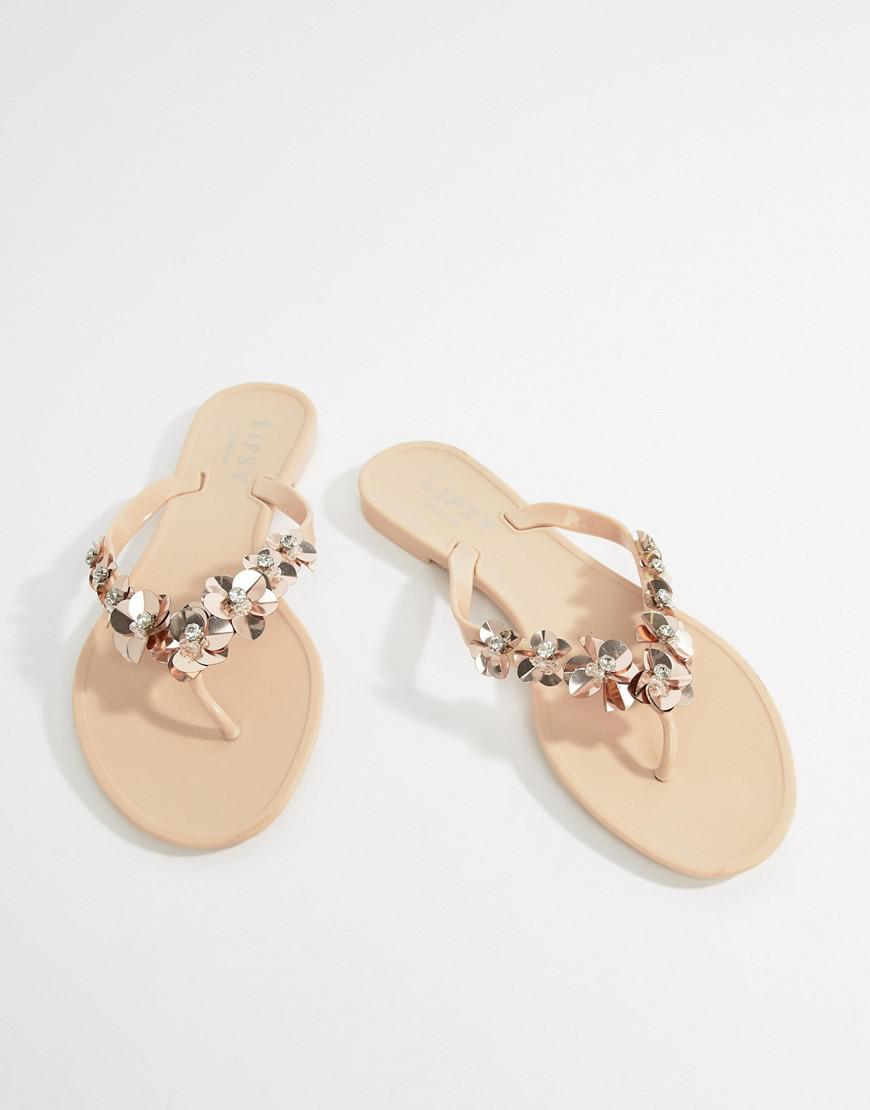 6bc91882c244 Lyst - Lipsy Jelly Flat Sandal With Embellished Floral Detail in Pink