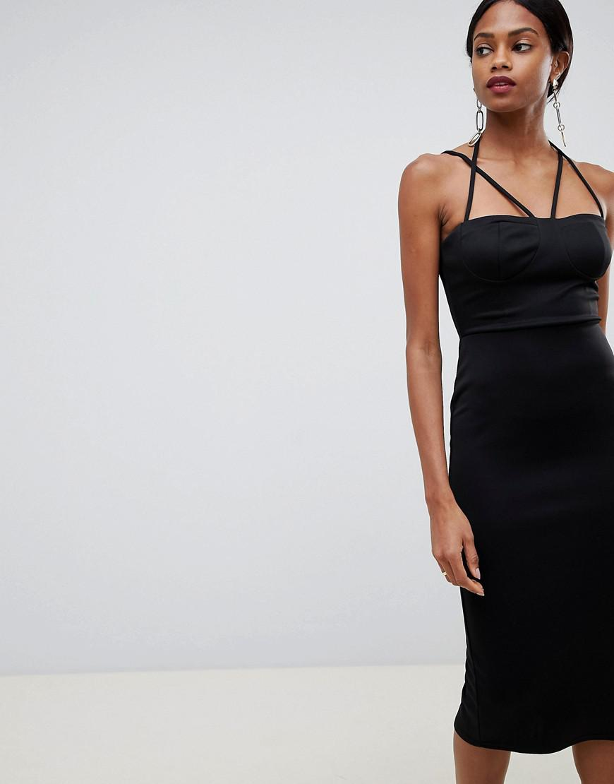 8992d3121998 ASOS 90s Strappy Midi Bodycon Dress in Black - Lyst