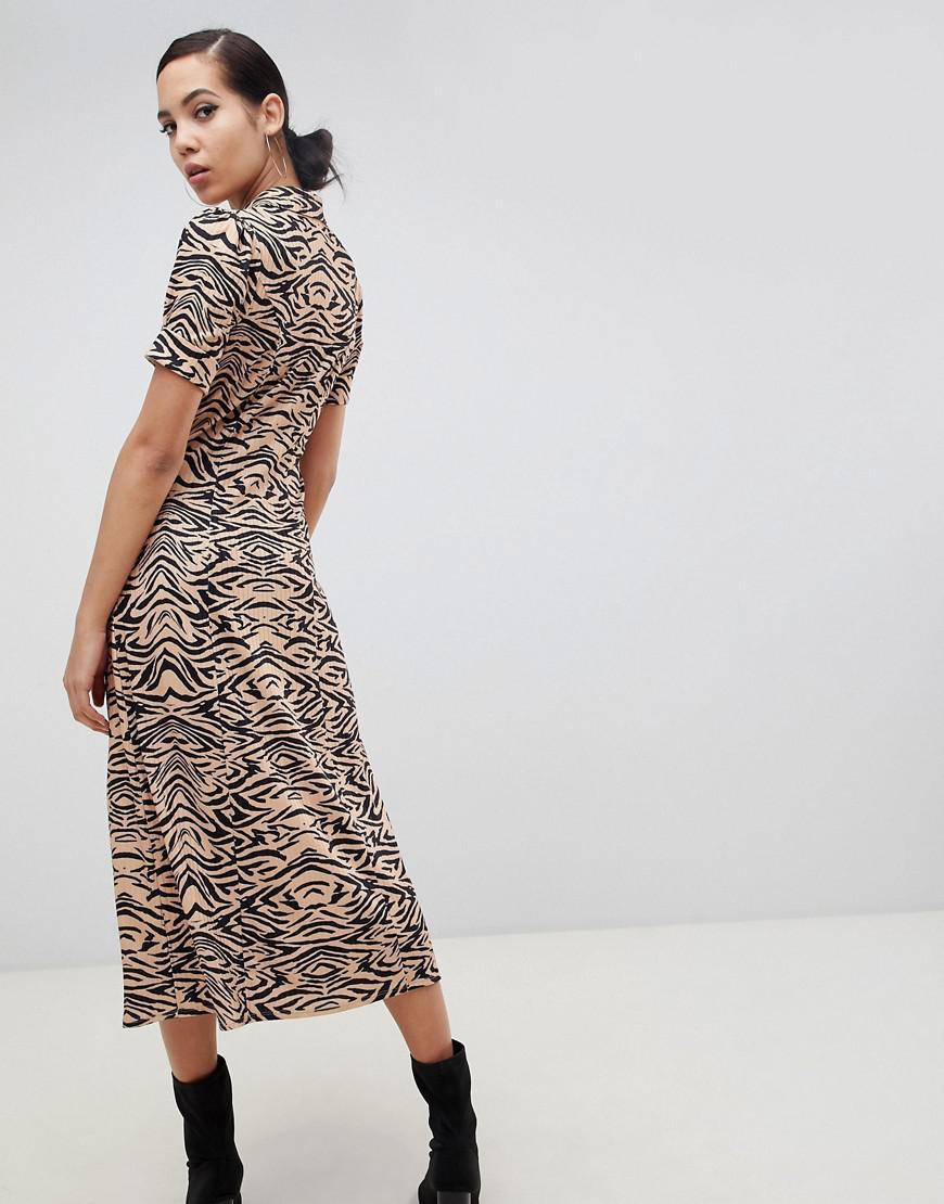f825d14462f Lyst - ASOS Asos Design Tall Animal Print Midi Tea Dress In Rib