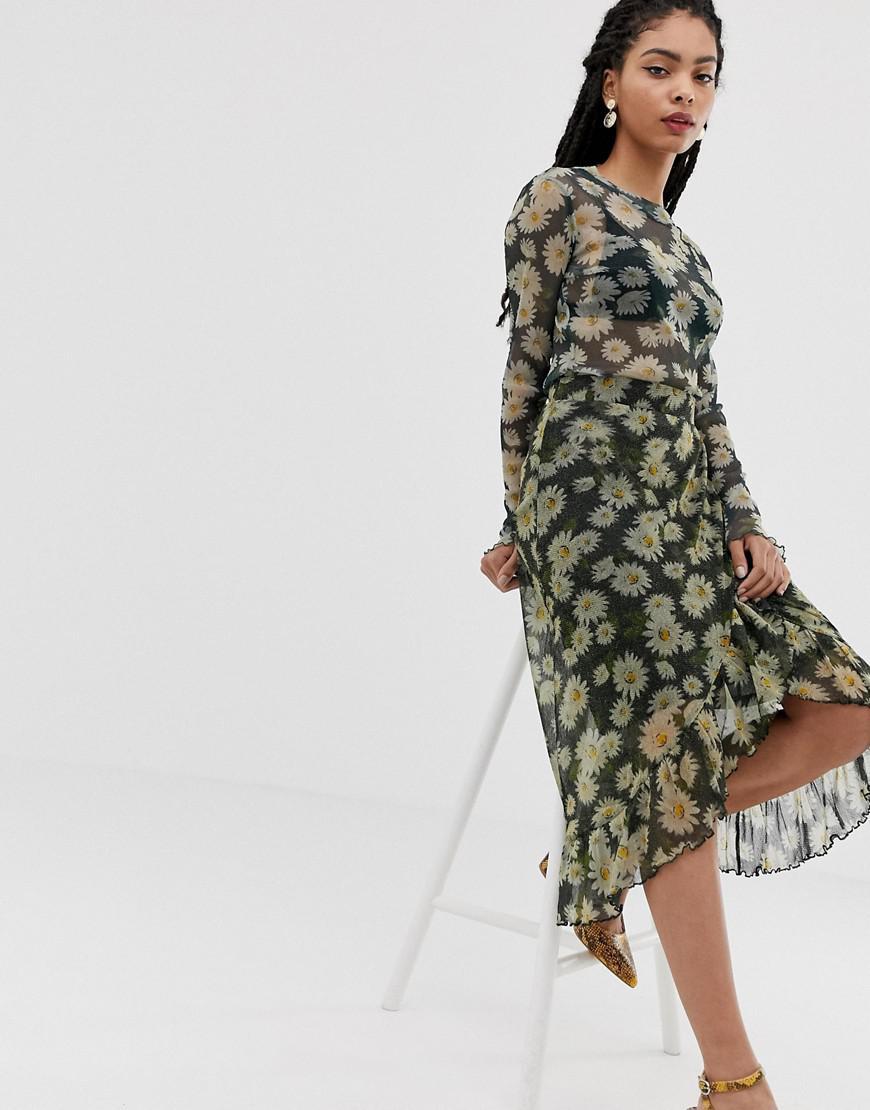46dd279f98 Minimum Moves By Floral Midi Skirt in Green - Lyst
