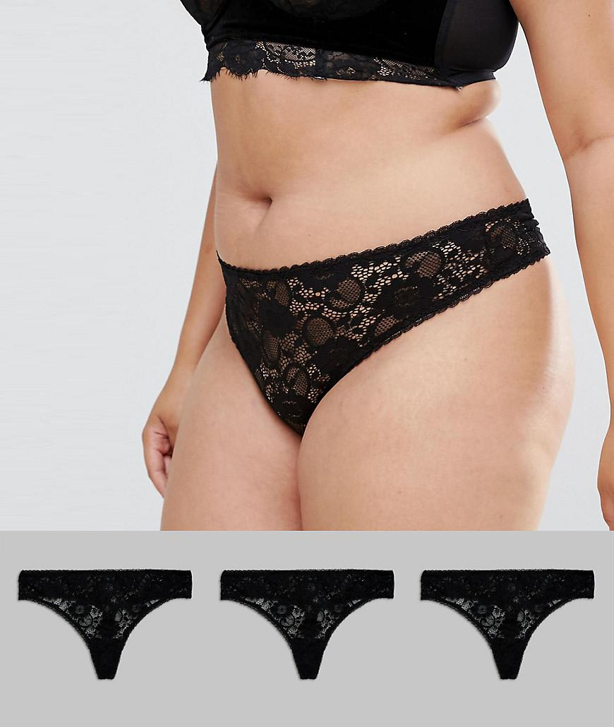 3fc1dc398787 ASOS Asos Design Curve 3 Pack Deep Side Lace Thong in Black - Lyst