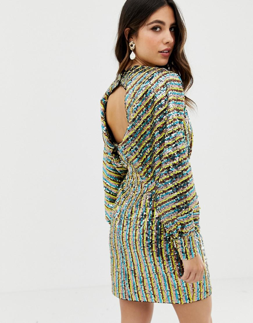c238bed9691 ASOS Stripe Embellished Sequin Batwing Kimono Mini Dress in Green - Lyst