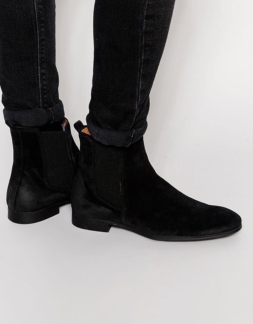 lyst selected yannick suede chelsea boots in black for men. Black Bedroom Furniture Sets. Home Design Ideas