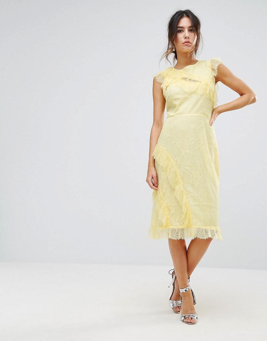 Warehouse - Yellow Eyelash Lace Frill Dress - Lyst. View fullscreen 344064b2e