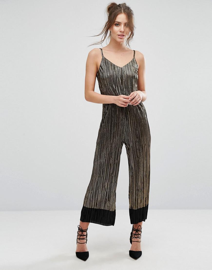 dca5ccaf617 Lyst - Warehouse Metallic Cami Plisse Jumpsuit in Black