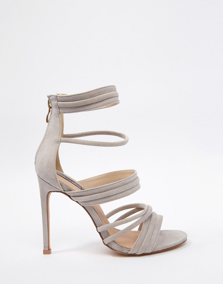 Lyst - Lost ink Rally Grey Strappy Heeled Sandals - Grey in Gray