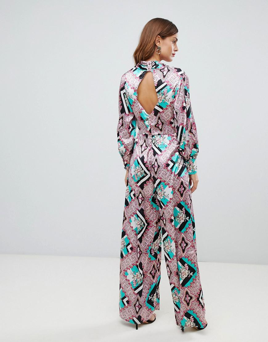43dae1c6ba9 Lyst - ASOS Jumpsuit With High Neck And Blouson Sleeve In Mixed Floral Print