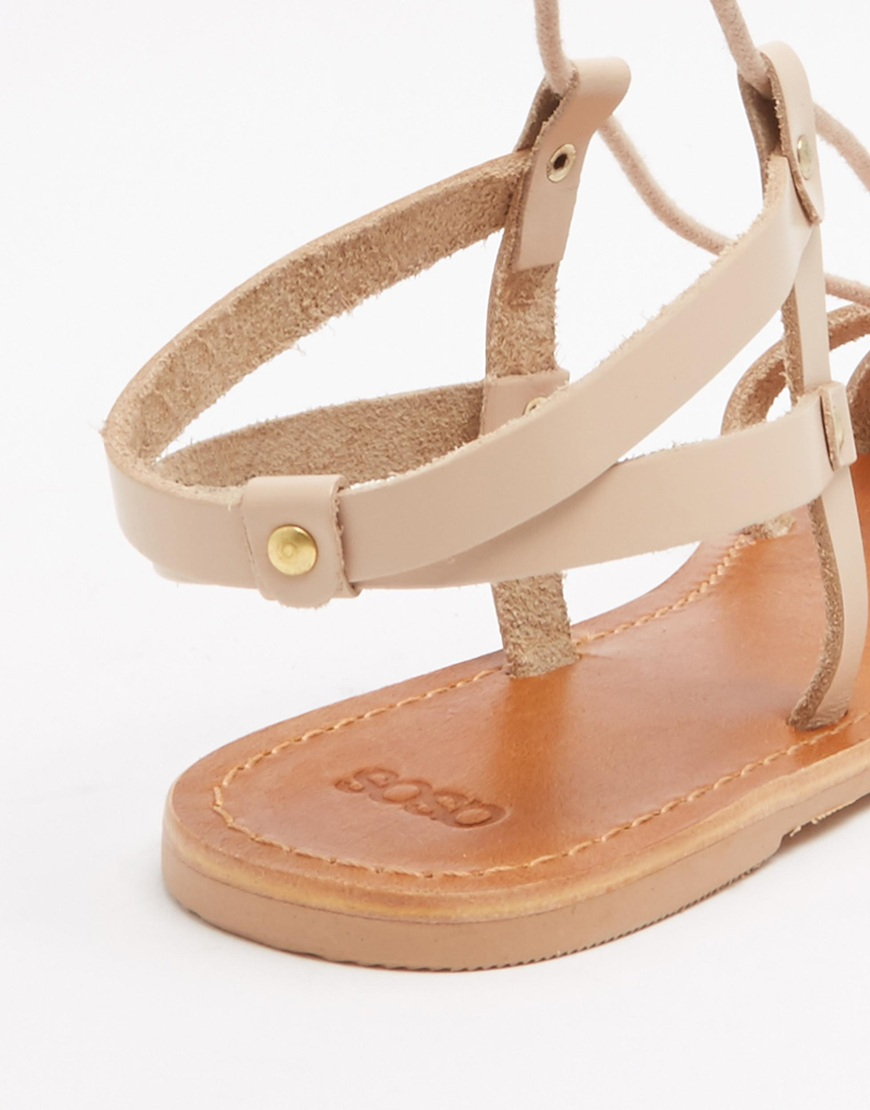 07e4494ae5e4 Lyst - ASOS Fonda Leather Lace Up Flat Sandals in Pink