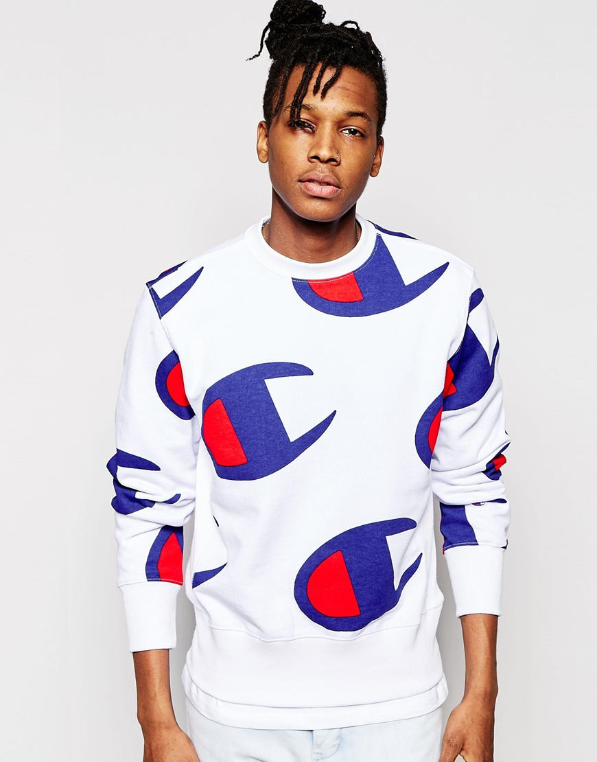 Champion Sweatshirt With All Over Logo Print in White | Lyst