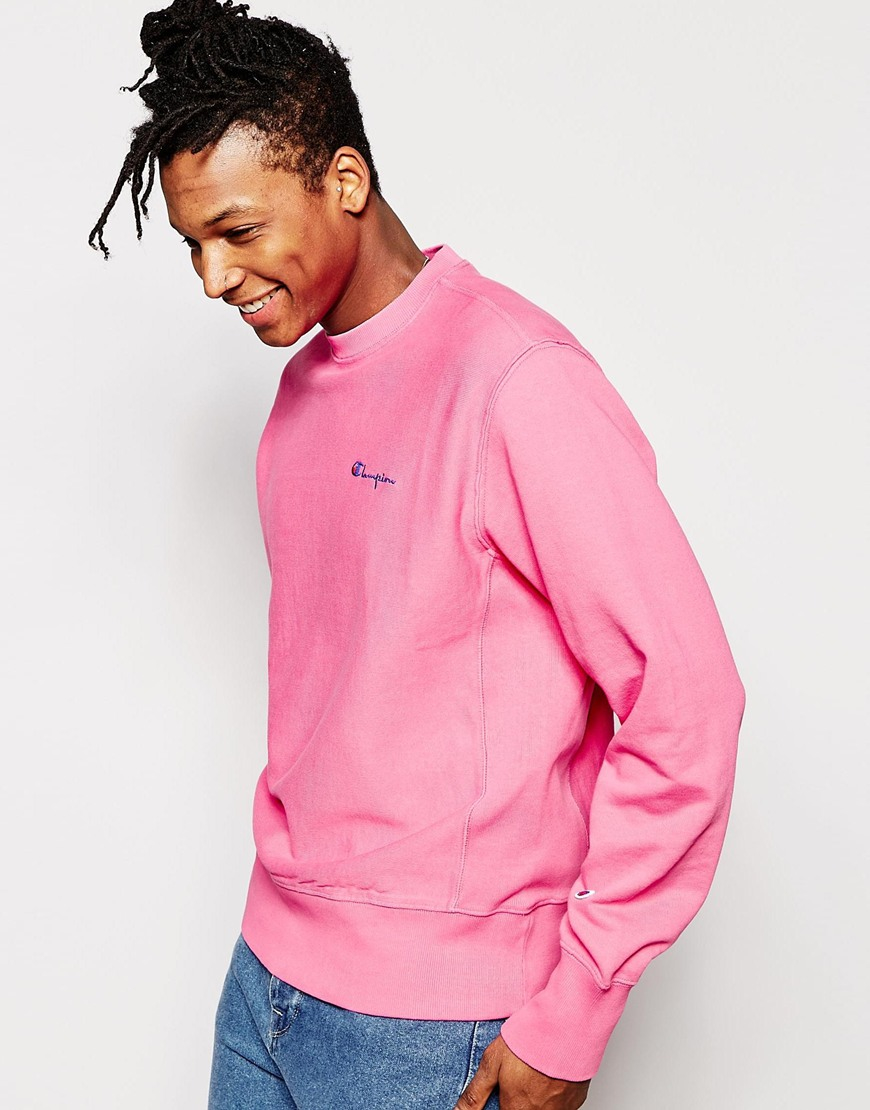 Champion Sweatshirt With Small Script Logo in Pink for Men | Lyst