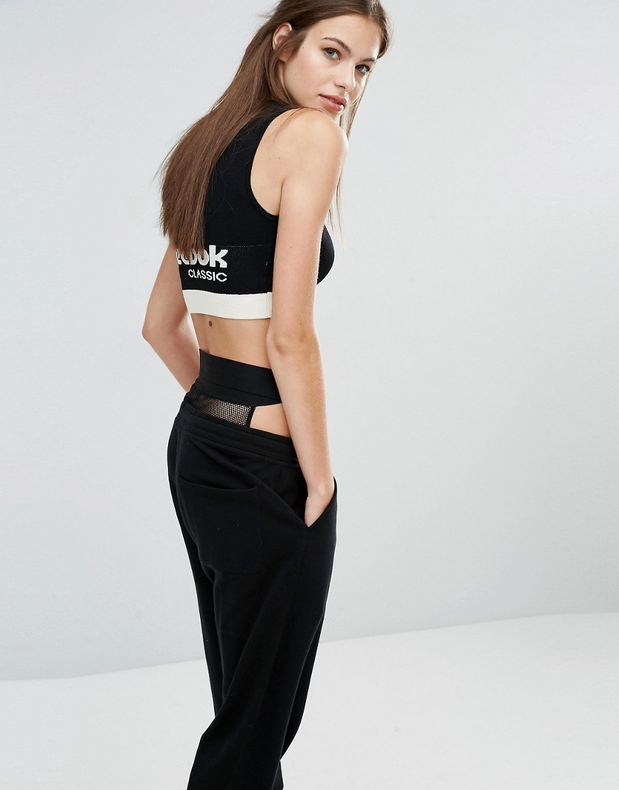 771f896a804 Reebok Classics Knitted Crop Top In Black And Cream in Black - Lyst
