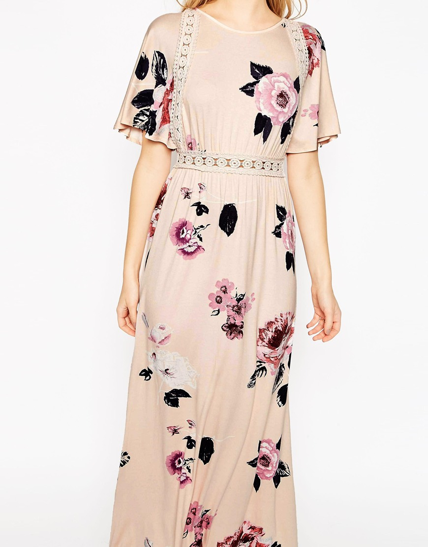 bff46403cb57c ASOS Angel Sleeve Maxi Dress With Lace Inserts In Floral Print in Pink -  Lyst