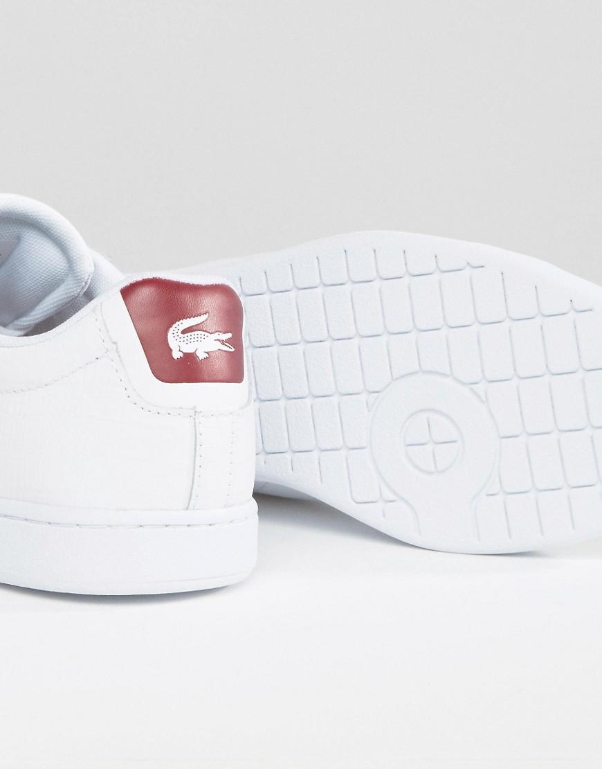 7e2b0bb48 Lacoste Carnaby Evo Textured Trainers With Red Back Counter - White ...