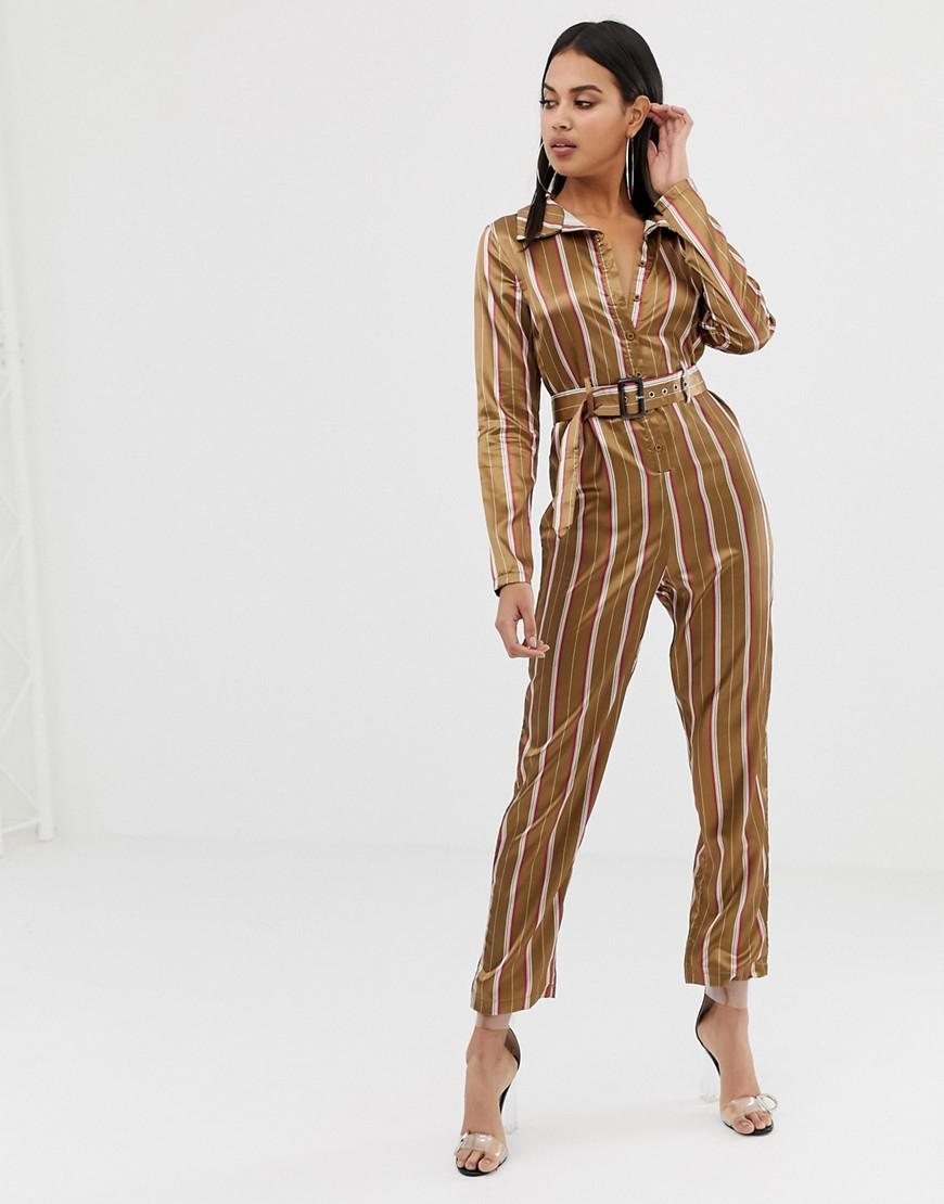 d2948b3e816d PrettyLittleThing Satin Belted Jumpsuit In Camel Stripe in Natural ...