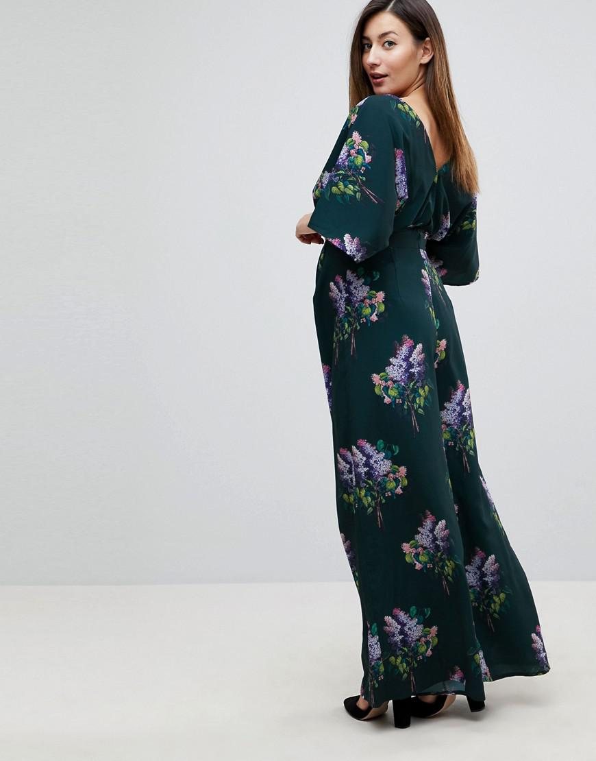 aa1f6e561c Lyst - ASOS Jumpsuit With Kimono Sleeve And Wide Leg In Print - Save 41%