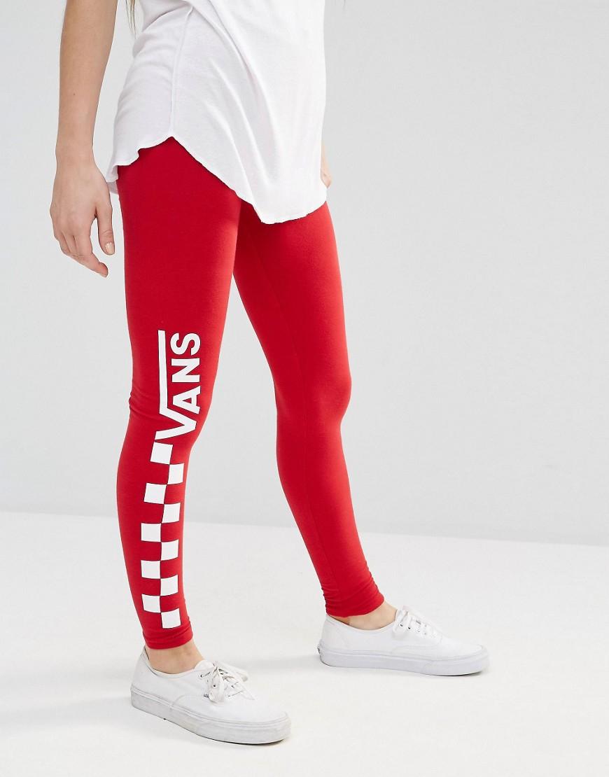 Vans Red Checkerboard Leggings In Red Lyst