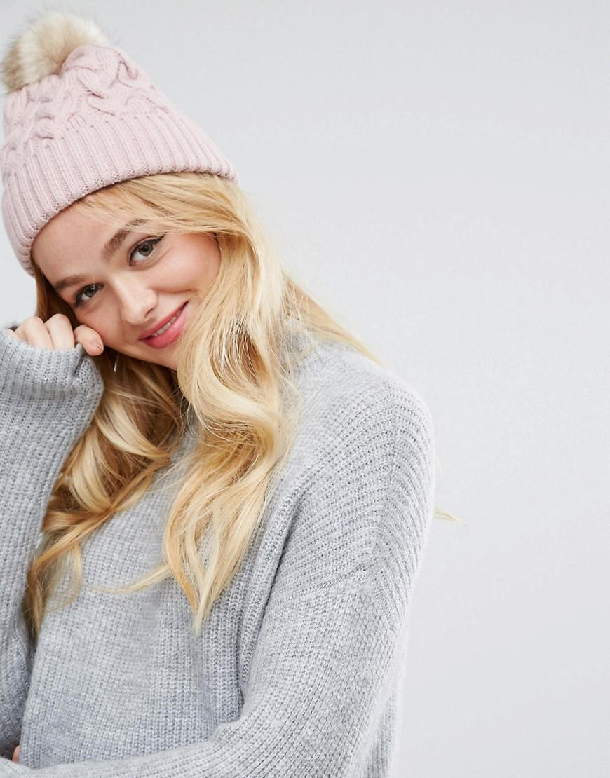 6fe9fdc97 ASOS Cable Pom Beanie With Natural Faux Fur Pom in Pink - Lyst