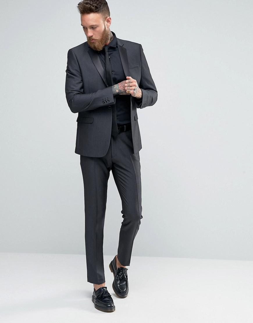 Asos Skinny Suit Jacket In Tonic In Black in Black for Men | Lyst