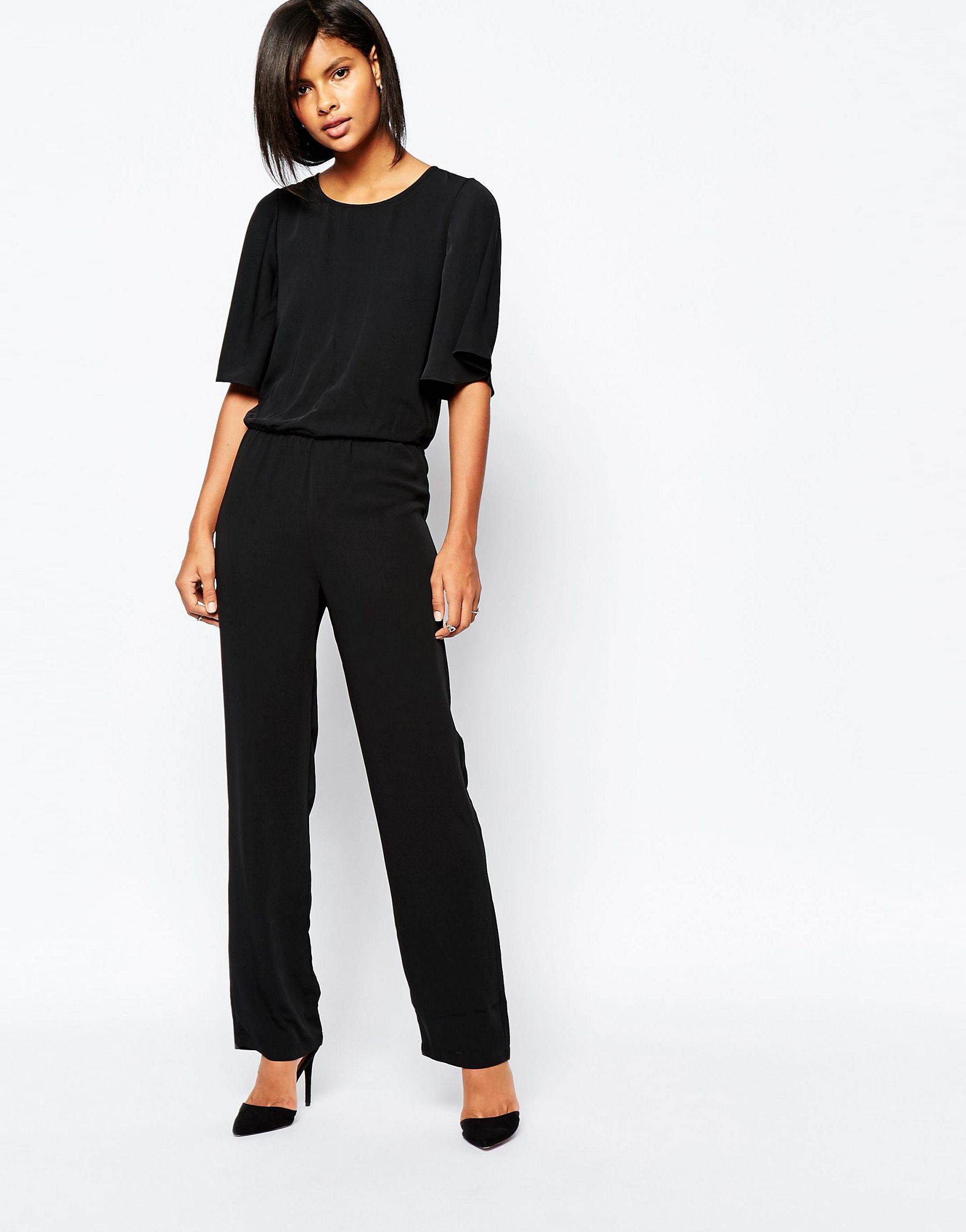 vero moda kimono sleeve jumpsuit in black lyst. Black Bedroom Furniture Sets. Home Design Ideas