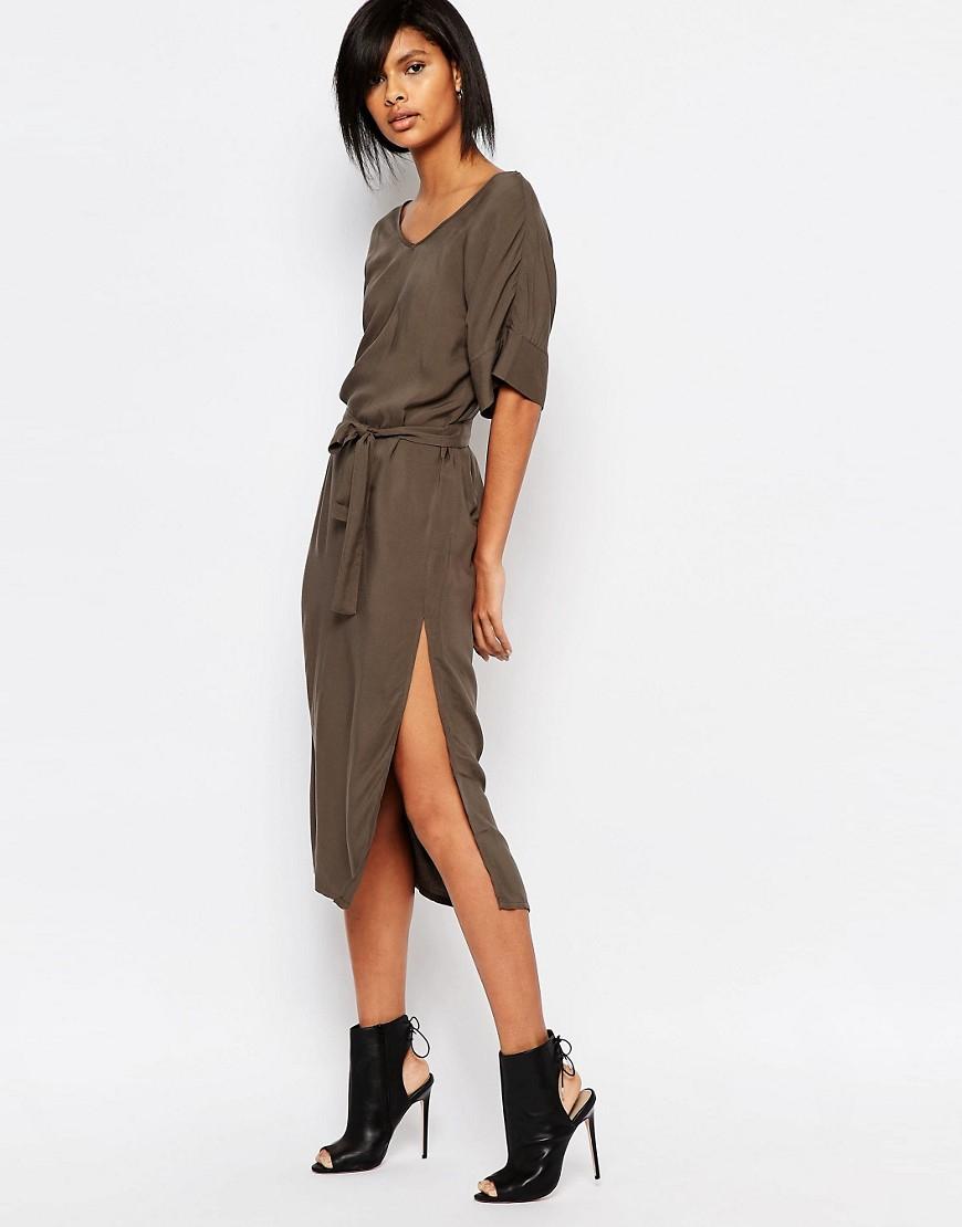 Vero Moda Waist Tie Midi Dress Clearance Sale Online Mv2QFXH0