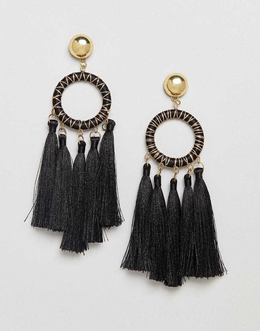 DESIGN Statement Macrame Woven Dreamcatcher Earrings - Gold Asos Fn1DyP