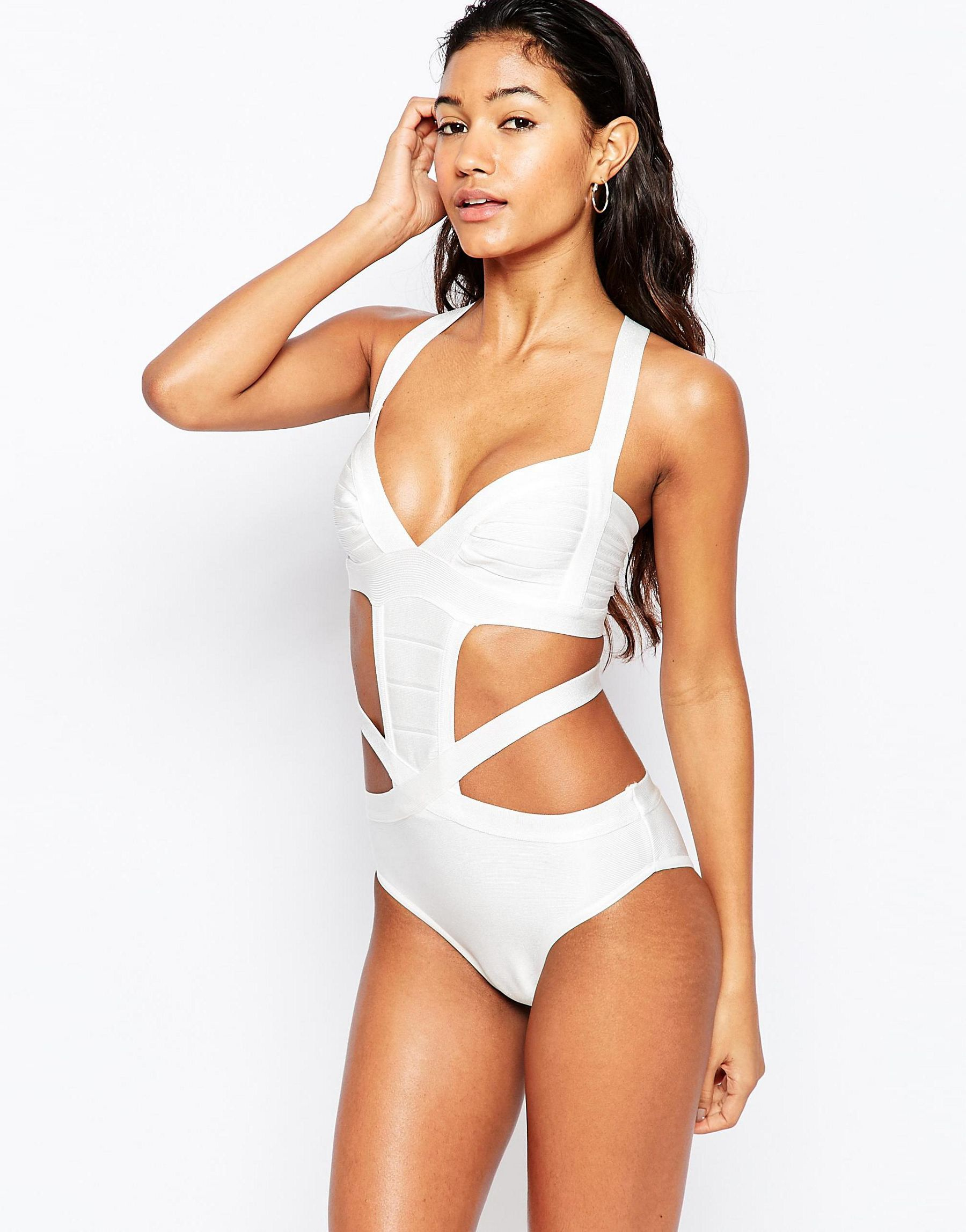 870cca22d32a5 Lyst - Little Mistress Cut Away Bandage Swimsuit in White