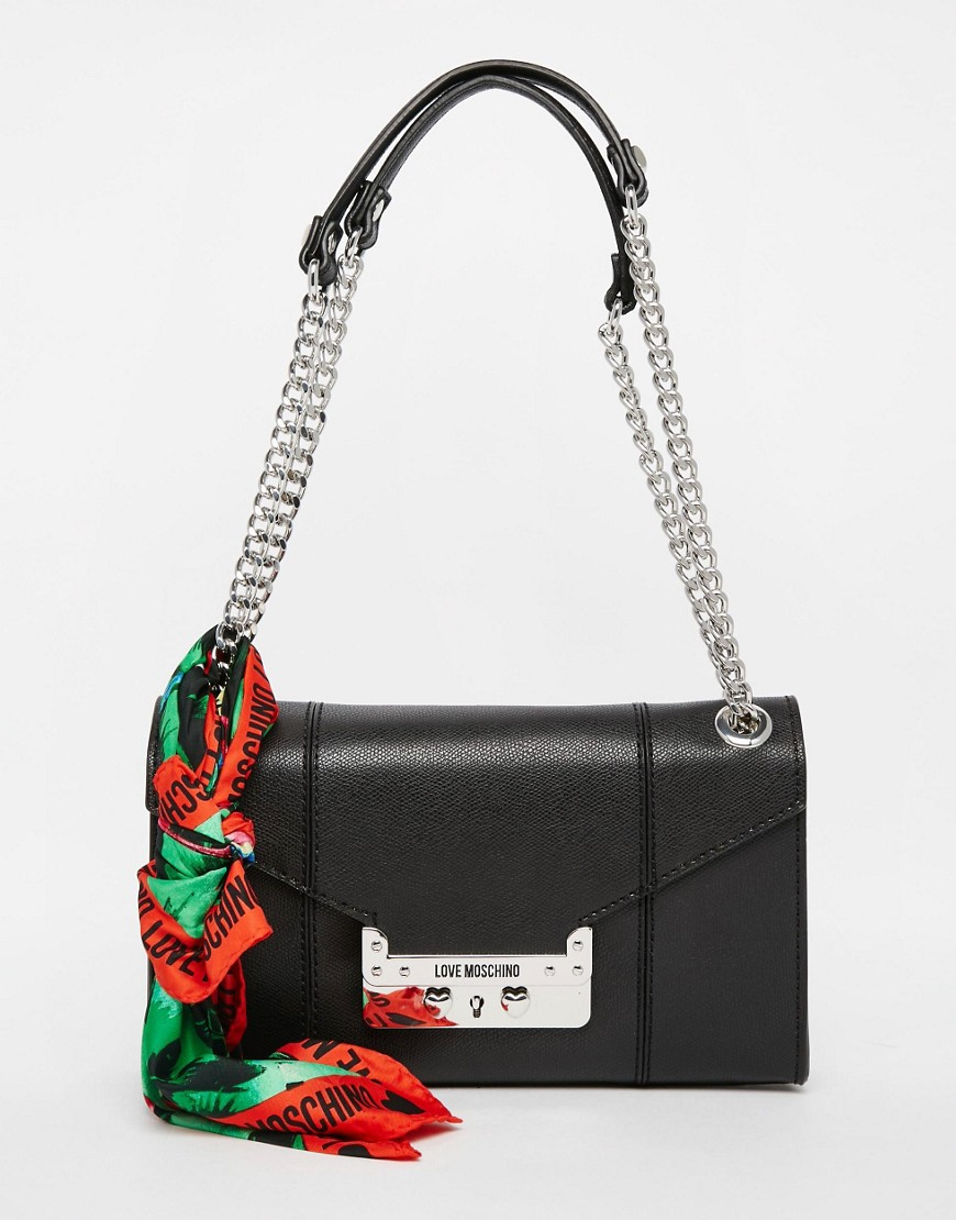 Love moschino Shoulder Bag With Chain Straps And Scarf in Black | Lyst