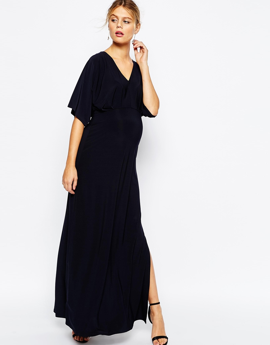 Asos Kimono Plunge Maxi Dress - Navy in Blue | Lyst