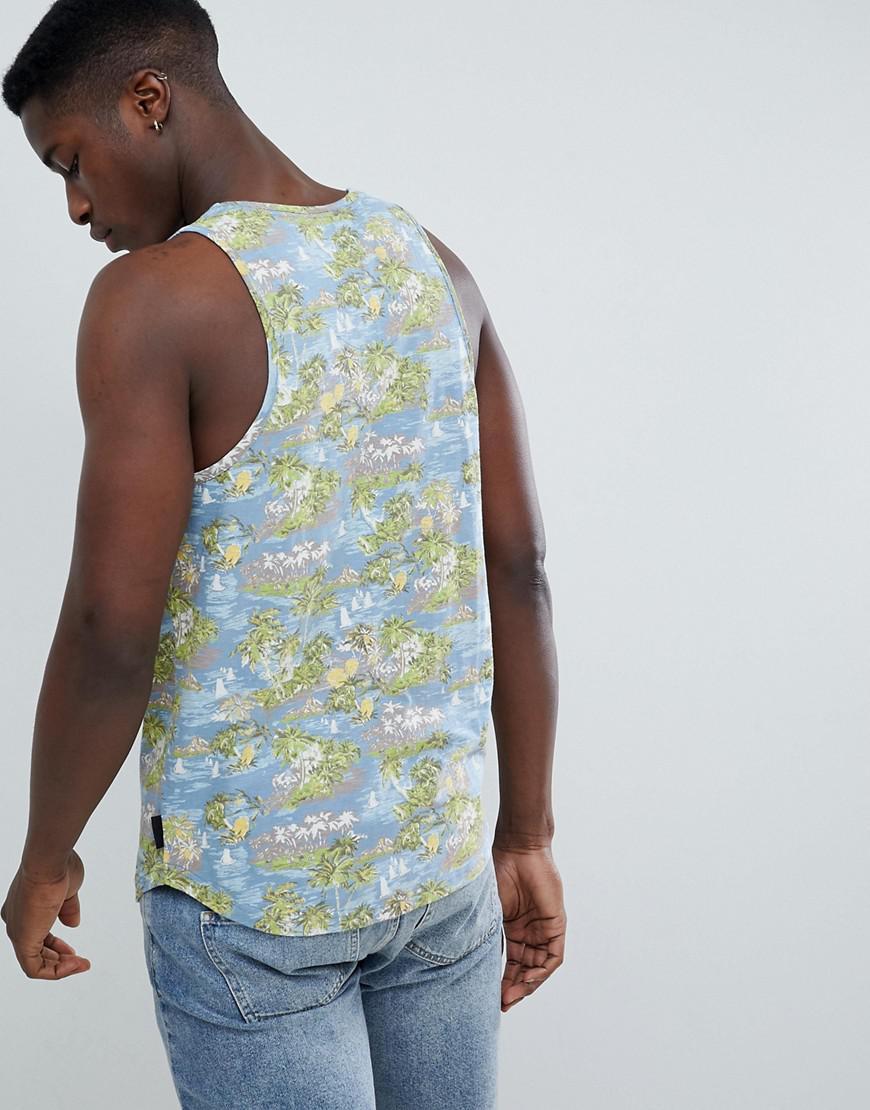 Burnout struct Vest Palm D Azul Print FRpqF