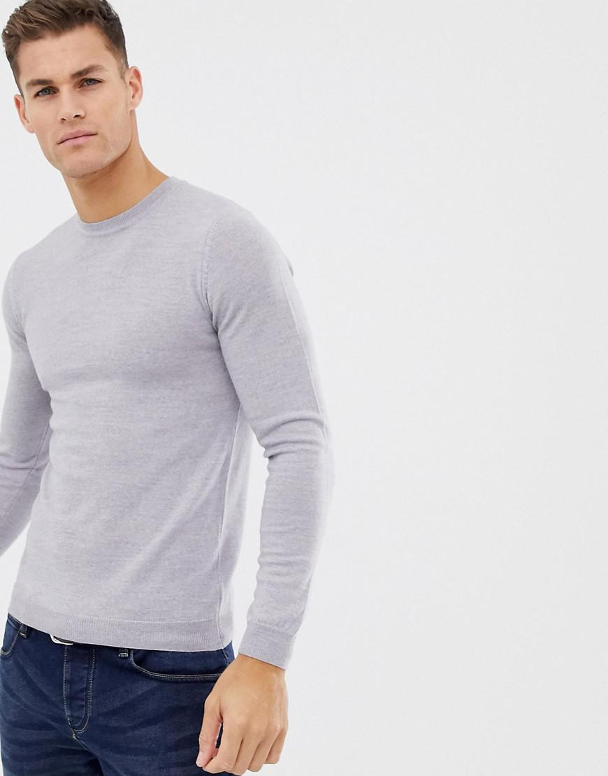 2cc99532136 ASOS Asos Muscle Fit Merino Wool Sweater In Light Gray in Gray for ...