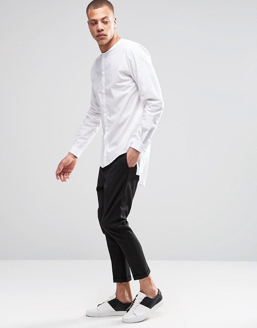 Lyst weekday grimm collarless regular fit shirt long for Collarless white shirt slim fit