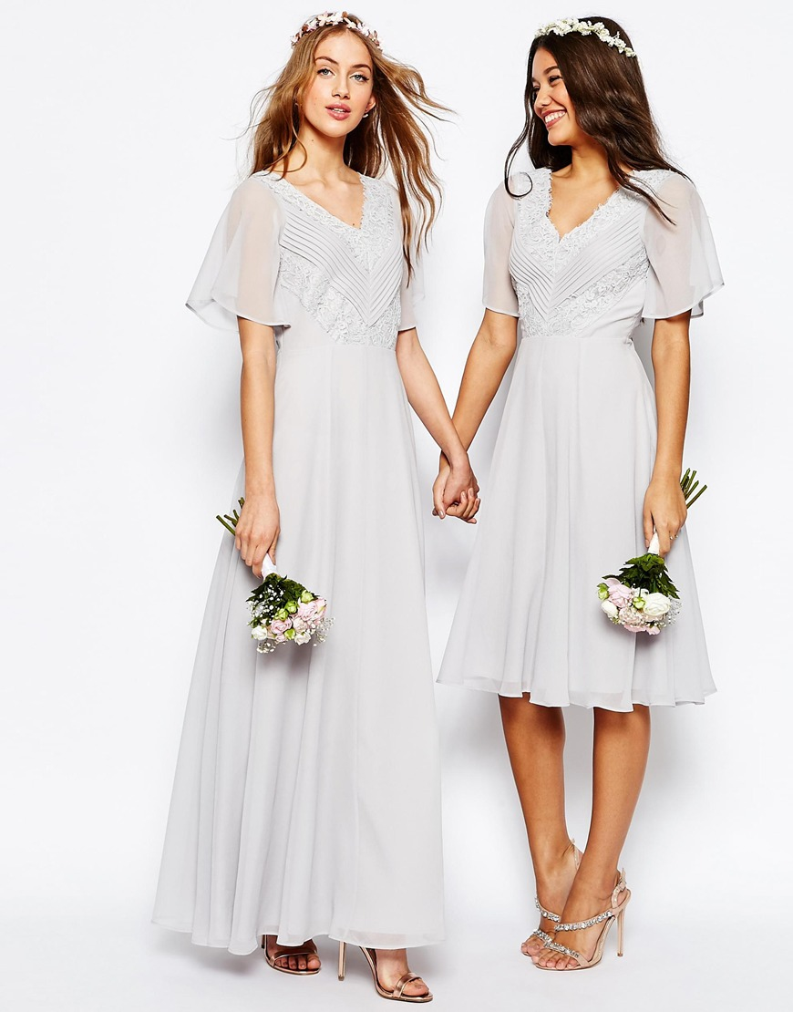 Asos Wedding Lace And Pleat Maxi Dress In Gray Lyst