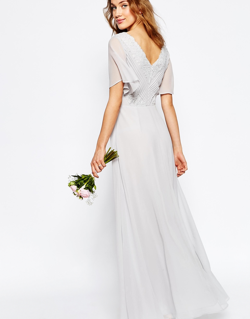 Lyst asos wedding lace and pleat maxi dress in gray gallery ombrellifo Gallery