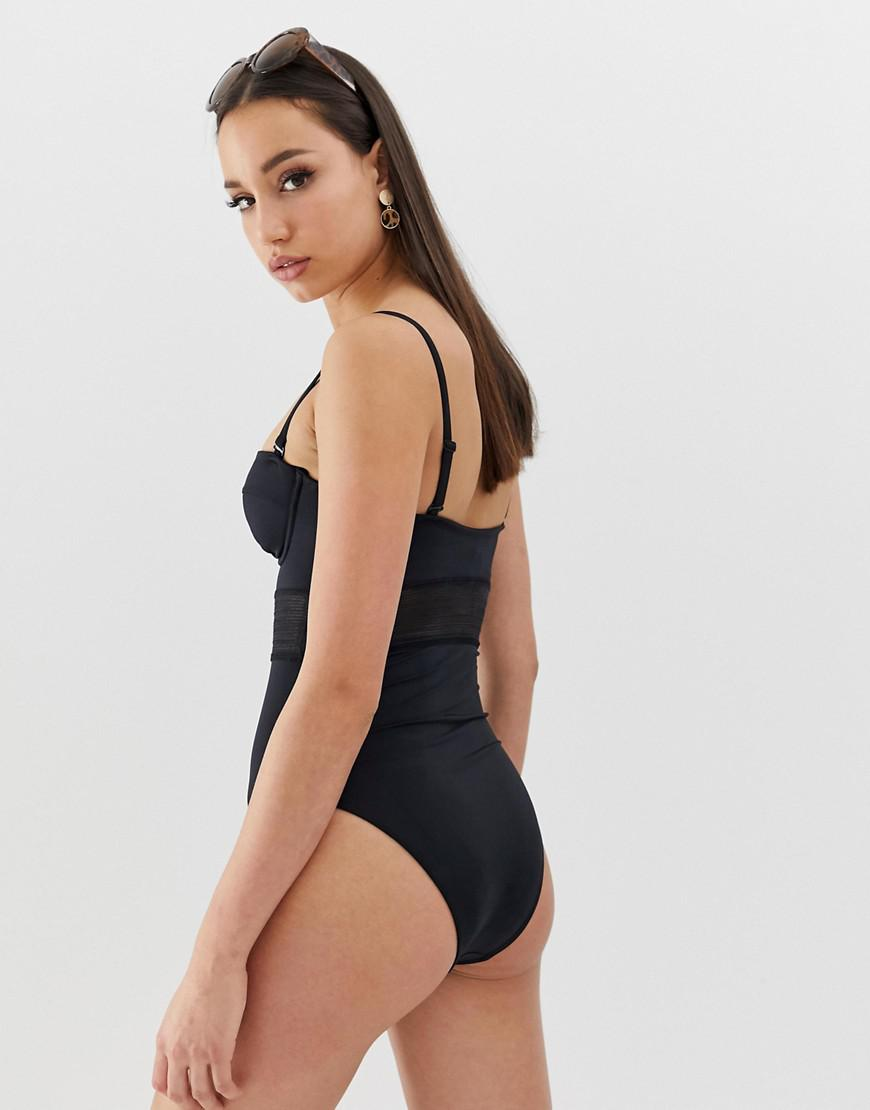 8b40d0087d11e Lyst - ASOS Asos Design Tall Recycled Mesh Insert Underwired Cupped Swimsuit  In Black in Black
